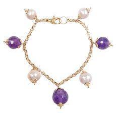 Cultured Pearl and Amethyst Bead Bracelet 14k Gold