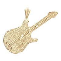 Electric Guitar Pendant / Charm 14k Gold