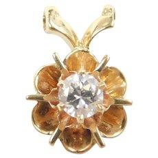 Vintage Diamond .20 Carat Buttercup Solitaire Pendant 14k Gold