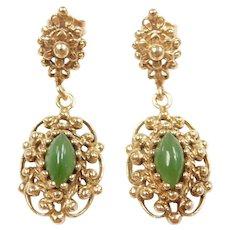 Victorian Revival Jade Ornate Dangle Earrings 14k Gold