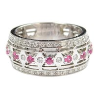 Ruby and Diamond 1.63 ctw Wide Band Ring 18k White Gold