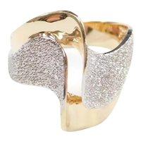 Contemporary Fun Swirl Ring 14k Gold Two-Tone