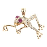 Ruby 1.02 ctw Tree Frog Pendant 14k Gold Two-Tone