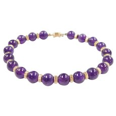 Amethyst Bead Bracelet 14k Gold