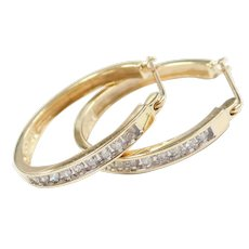 Diamond .225 ctw Hoop Earrings 10k Gold Two-Tone