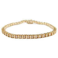 Diamond 1.88 ctw Tennis Line Bracelet 14k Gold