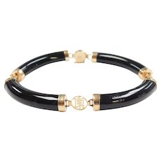 Black Onyx Bar Kanji Bracelet 14k Gold