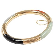 Vintage Multi Color Jade Bangle Bracelet 14k Gold