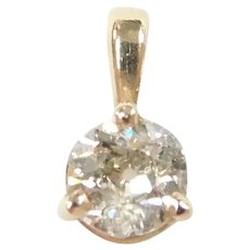 Diamond .27 Carat Solitaire Pendant 14k Gold