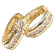 Light Champagne Diamond .84 ctw Hoop Earrings 14k Gold
