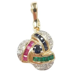 Sapphire, Ruby, Emerald and Diamond .58 ctw Enhancer Pendant 14k Gold