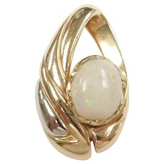 White Fire Opal 2.03 Carat Slide Pendant 14k Gold Two-Tone