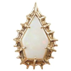 One of a Kind Modernist White Fire Opal Brutalist Pendant 14k Gold