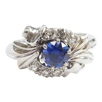 Vintage Created Sapphire and Diamond .88 ctw Ring 18k White Gold