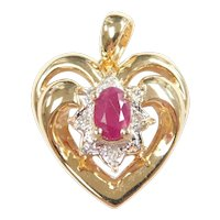 Natural Ruby and Diamond .45 ctw Heart Pendant 14k Gold Two-Tone