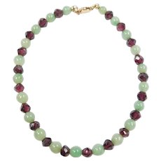 Green Jade and Rubellite Tourmaline Beaded Bracelet 14k Gold