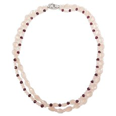 Rose Quartz and Rubellite Tourmaline Double Stand Beaded Necklace 14k White Gold