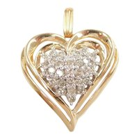 Diamond .70 ctw Heart Pendant 14k Gold Two-Tone
