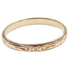 Vintage Floral Wedding Band Ring 14k Gold