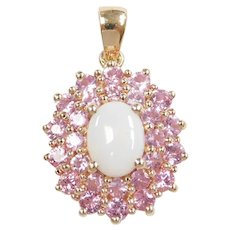 Opal and Pink Sapphire 2.31 ctw Double Halo Pendant 10k Gold