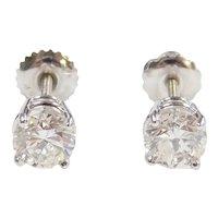 Diamond 1.54 ctw Stud Earrings 18k White Gold