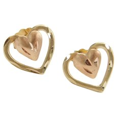 Double Heart Stud Earrings 14k Yellow and Rose Gold