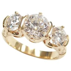 Showstopping GIA Certified Diamond 2.92 ctw Three Stone Engagement / Anniversary Ring 18k Gold