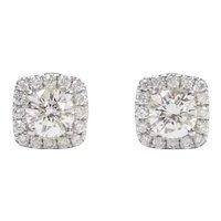 Diamond .64 ctw Halo Stud Earrings 14k White Gold