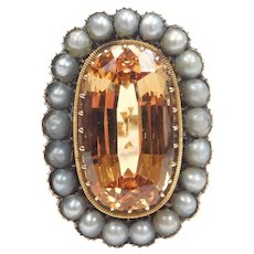 Stunning Edwardian GIA Certified Imperial Topaz 8.38 Carats and Cultured Pearl Halo Ring 14k Gold