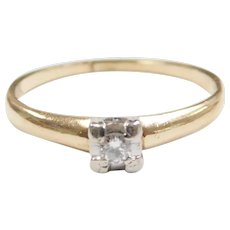 Vintage Diamond .065 Carat Solitaire Engagement Ring 14k Gold Two-Tone