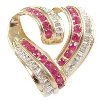 Ruby and Diamond 2.07 ctw Romantic Heart Pendant 14k Gold Two-Tone