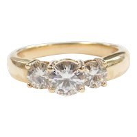 Moissanite 2.04 ctw Three Stone Past, Present and Future Ring 14k Gold