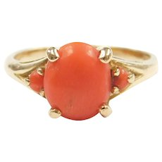 Vintage Coral Three Stone Ring 18k Gold