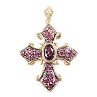 Pink Tourmaline and Diamond 1.23 ctw Cross Pendant 10k Gold