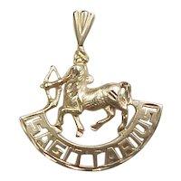 Vintage 14k Gold Sagittarius Pendant