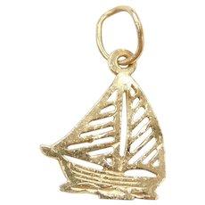 14k Gold Sail Boat Charm