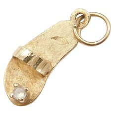 14k Gold Sandals Resort Souvenir Charm with Quartz Accent