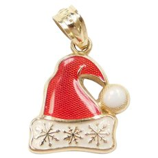 14k Gold Santa Clause Christmas Hat Charm ~ Snowflakes