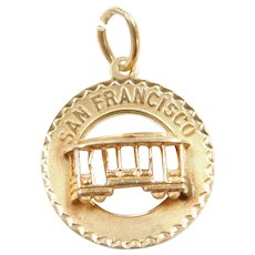 14k Gold San Francisco Trolley / Cable Car Charm