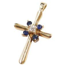 14k Gold .31 ctw Natural Sapphire and Diamond Cross Pendant