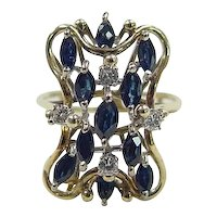 Vintage 14k Gold 1.42 ctw Sapphire and Diamond Ring