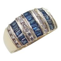 Vintage 14k Gold Wide 2.09 ctw Sapphire and Diamond Band Ring