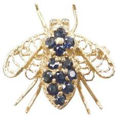 .61 ctw Sapphire and Diamond Bee Pendant / Pin / Brooch