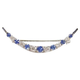 Beautiful 14k White Gold .91 ctw Sapphire and Diamond Crescent Moon Pin / Brooch Vintage Circa 1930's