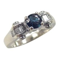 Vintage 14k White Gold 1.17 ctw Sapphire and Diamond Ring