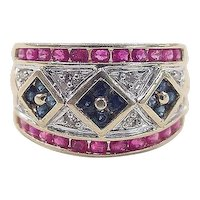 Vintage 14k Gold Ruby, Diamond and Sapphire Band Ring