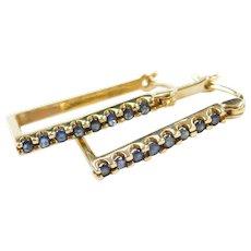 Vintage 14k Gold Sapphire Hoop Earrings