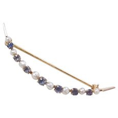 Edwardian 14k Gold Sapphire and Seed Pearl Crescent Pin / Brooch