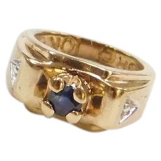 10k Gold Tiny Sapphire Ring Charm ~ Anniversary or Birthday ~ Two-Tone