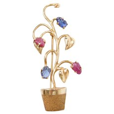 Vintage 14k Gold Carved Sapphire and Ruby Flower Plant Pin / Brooch